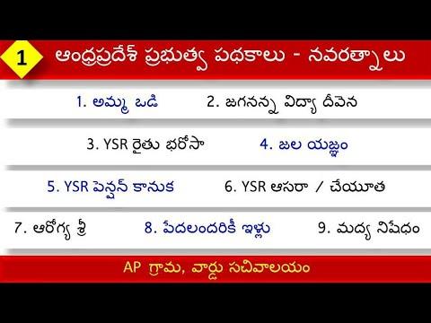 Schemes of AP Government important points in Telugu   Navaratnalu    class-1
