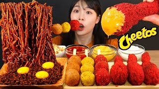 ASMR MUKBANG| BLACK BEAN NOODLES & CHEETOS FRIED CHICKEN & CHEESE BALL EATING
