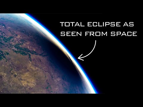 Solar eclipse from space | Hyperlapse of eclipse in space at 165,000 feet