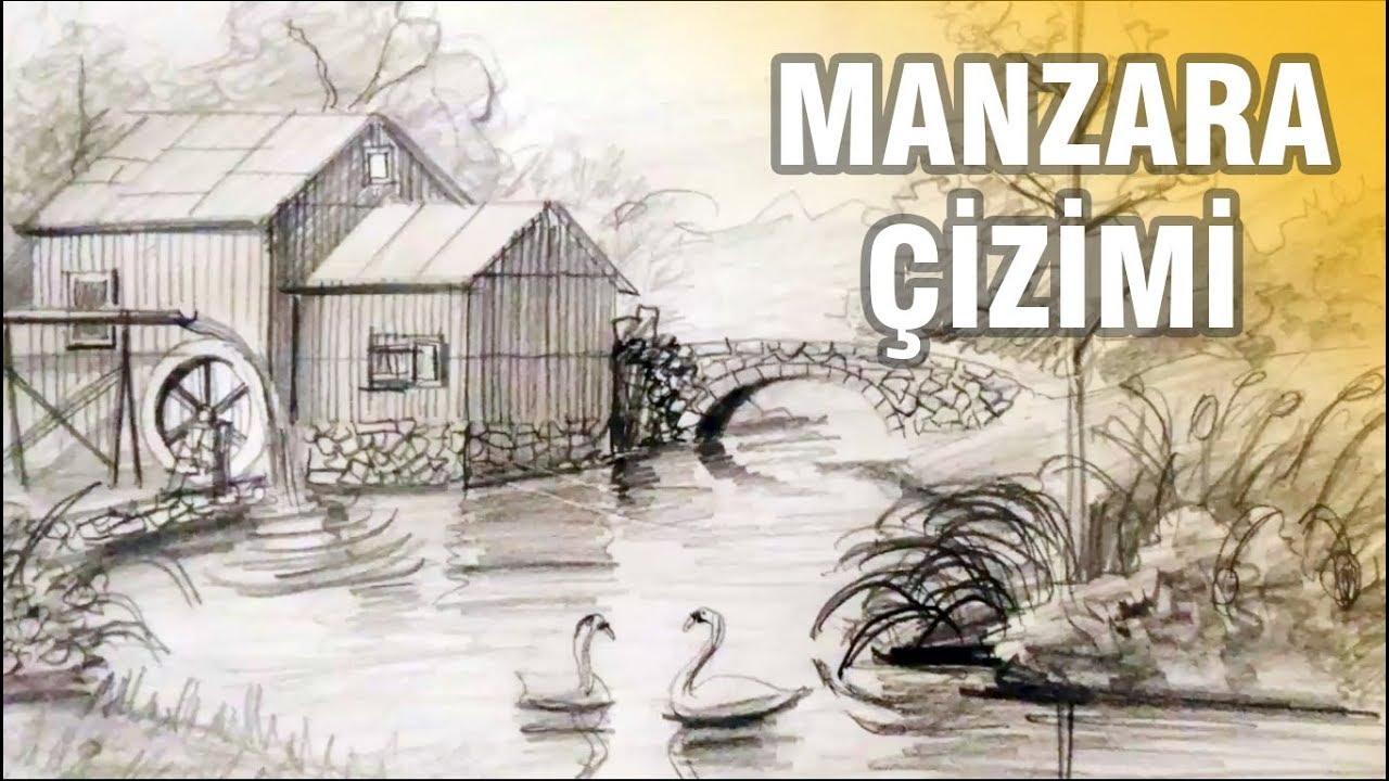 Kolay Karakalem Manzara çizimi Karakalem Nasıl Yapılır Youtube