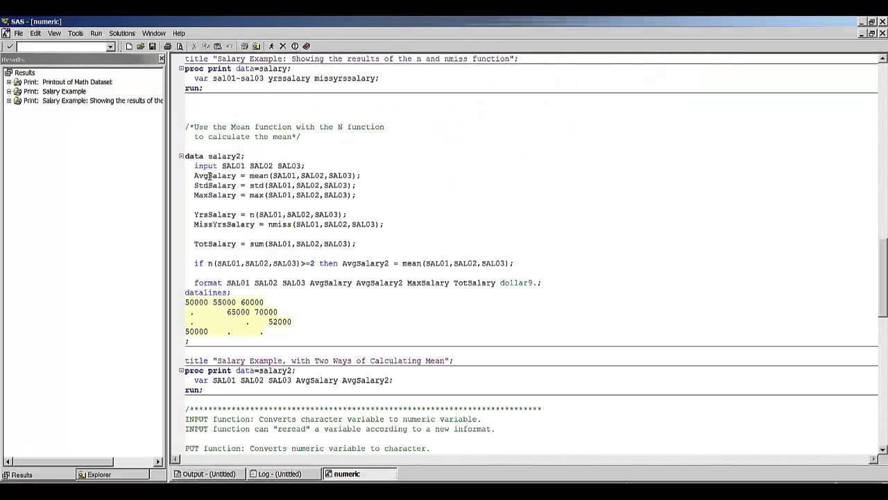 SAS Demonstration Video, Numeric Functions1