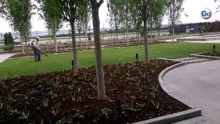 Final touches were being placed on the new garden at Greenville-Spartanburg International Airport, M