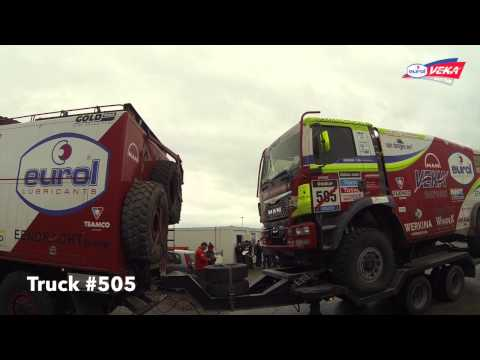 Dakar 2014 - Picking up the trucks at the port of LeHavre (Eurol VEKA MAN Rally Team)