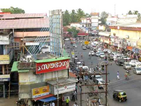 A view of the main street in Thalassery town, Kannur ...