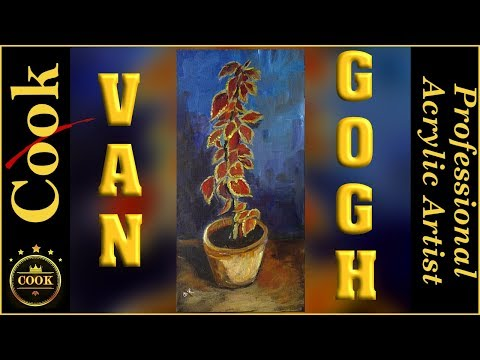 Acrylic Secrets of Painting Van Gogh's Coleus Flowers in a pot over an old Canvas with no Gesso