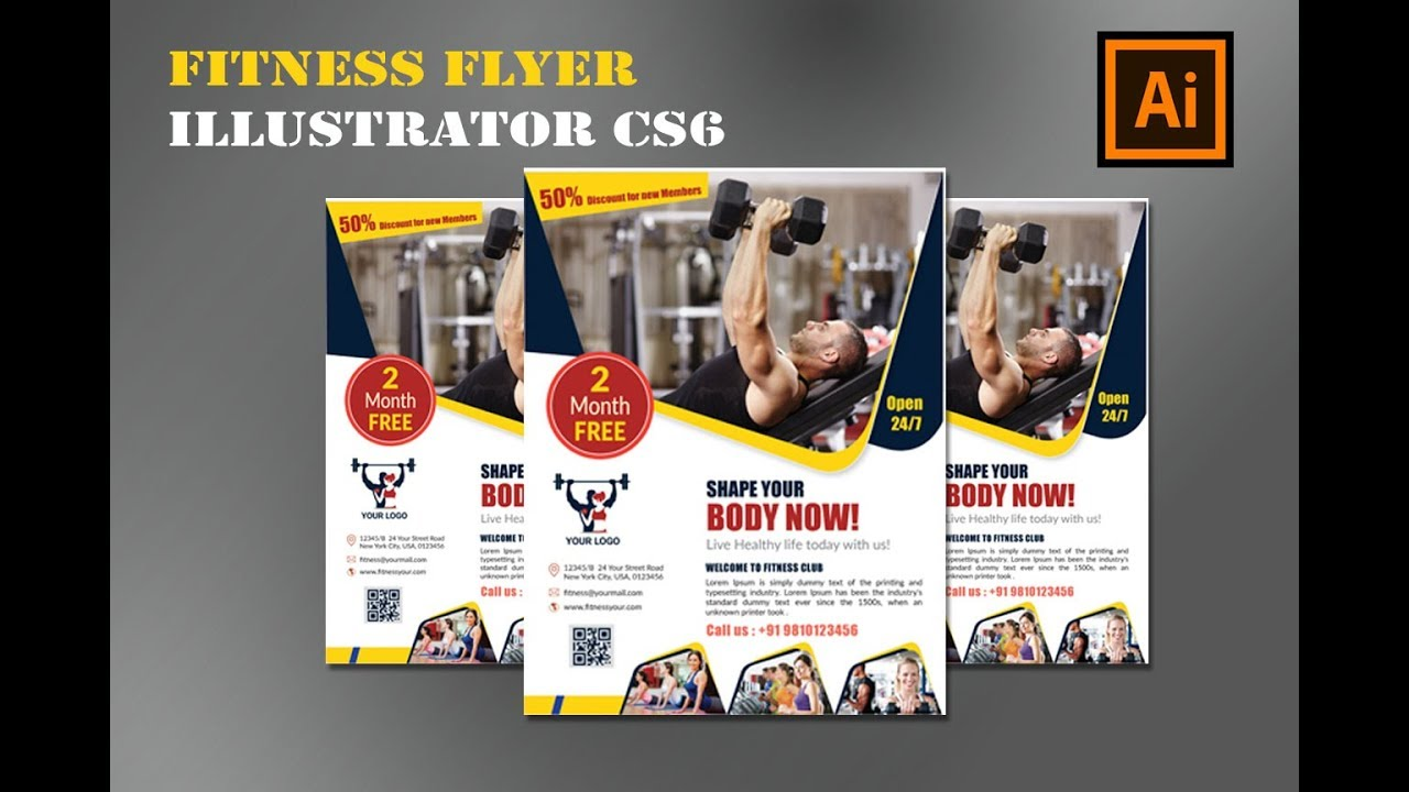 fitness flyer design gym flyer design illustrator tutorial cs6