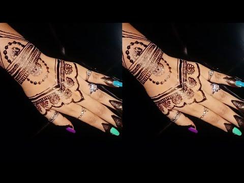 Mehndi design for hands///henna mehndi design tutorial ///  simple back hand mehndi design thumbnail