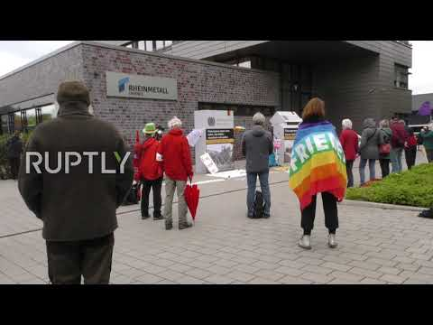 Germany: Protesters gather at Rheinmetall defence company to decry export of weapons