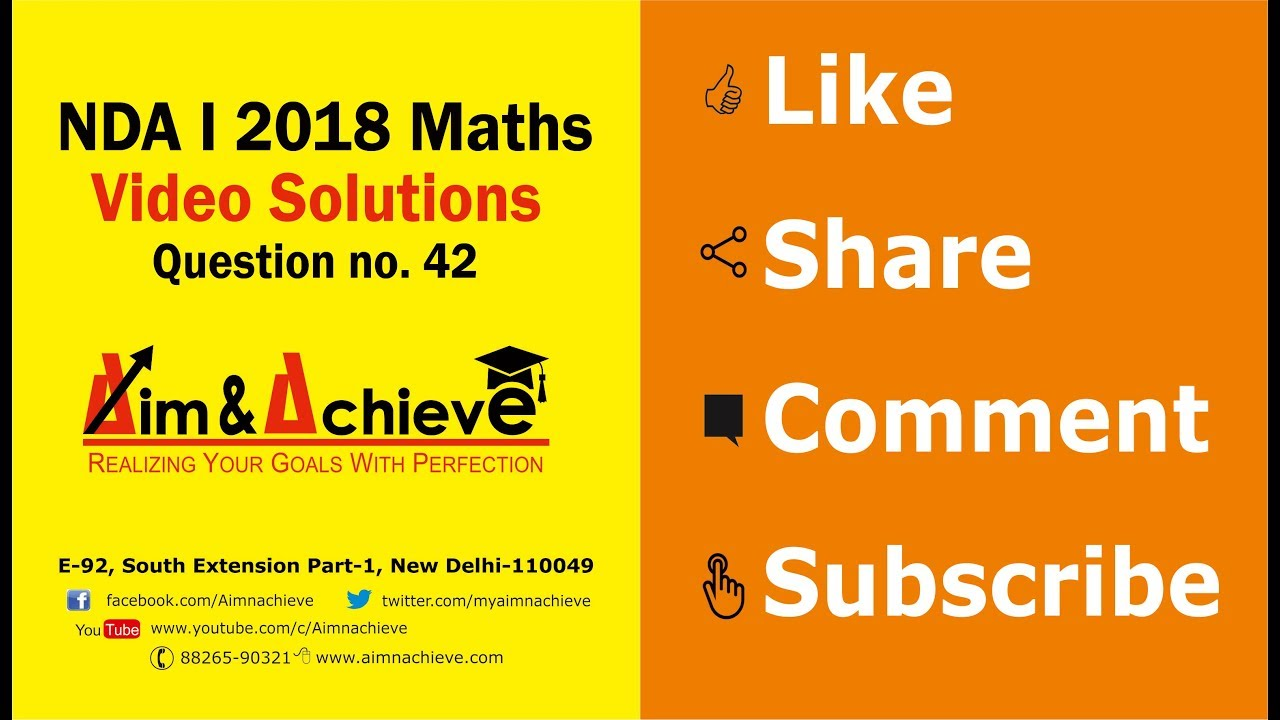 Nda i 2018 video solutions answer key for maths question 42 youtube nda i 2018 video solutions answer key for maths question 42 malvernweather Gallery