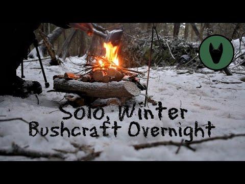 Solo Winter Bushcraft Camp-Natural Shelter-Pulk Overnighter