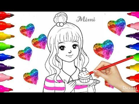 Beautiful MIMI BARBIE DOLL 2| Secret JOUJU| Coloring pages|Colored Marker, Crytal GEM Glittery ART