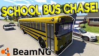 INSANE SCHOOL BUS POLICE CHASE & CRASHES! - BeamNG Gameplay & Crashes - Cop Escape