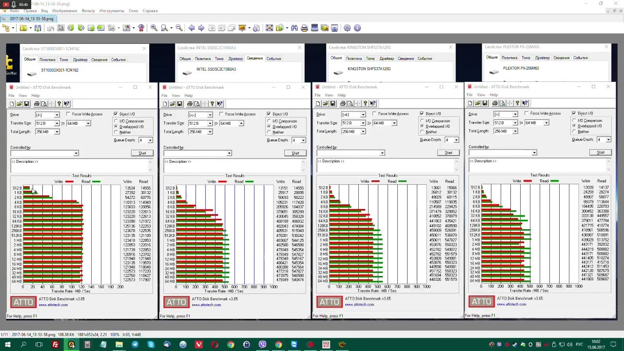 Тестирование 4 SSD, ATTO Disk Benchmark