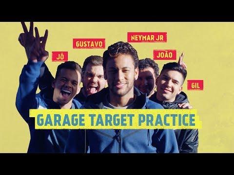 GARAGE TARGET PRACTICE: Neymar Jr, a ball and a Lamborghini.