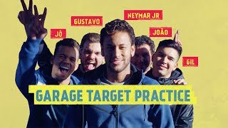 GARAGE TARGET PRACTICE: Neymar Jr, a ball and a Lamborghini.