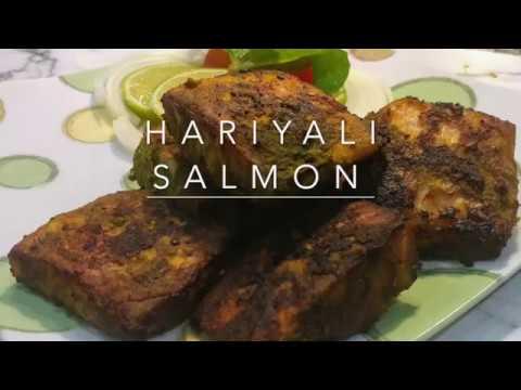 Hariyali Salmon/Salmon Fish Baked In Green Sauce