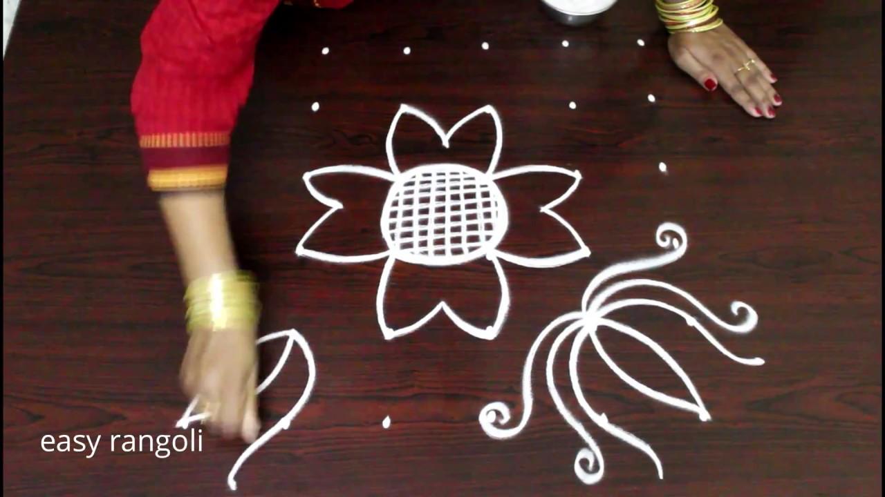 Easy Simple Lotus Flower Rangoli Designs With 6 Dots Beginners