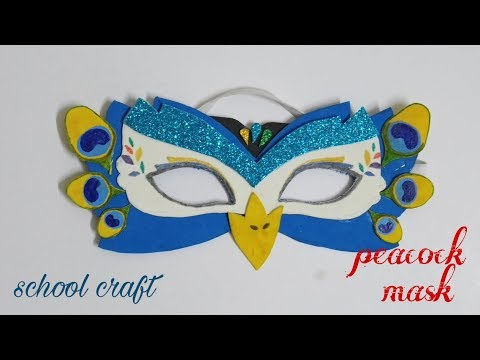 Peacock mask| Howto make peacock eye mask| School Craft|