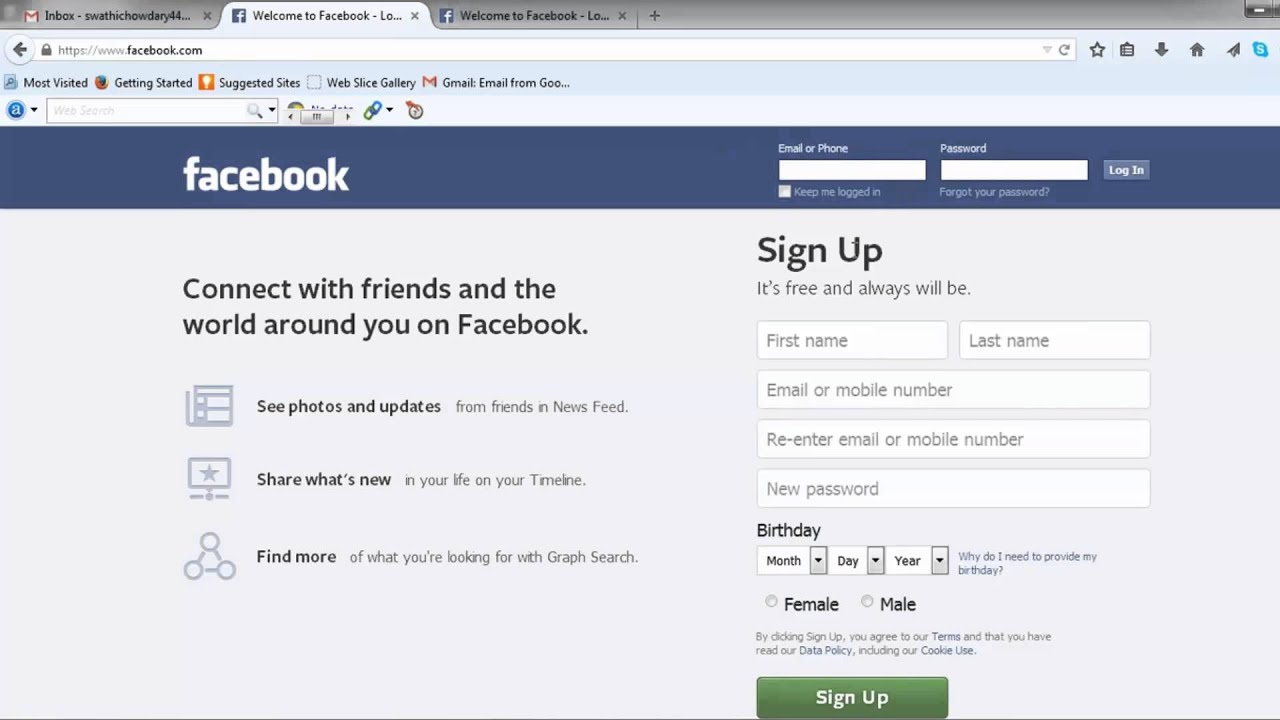 How to create a facebook account without a mobile number