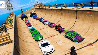 Супергеройские автомобили Испытание на рампе с Человек-паук Халк и другие Супергерои GTA V MODS