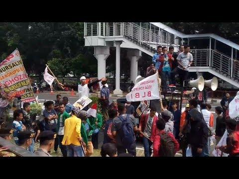 Mahasiswa Melawan Lupa Korupsi BLBI Demo dan Bakar Ban di KPK