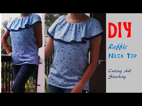 DIY Ruffle Neck Top Cutting And Stitching Full Tutorial