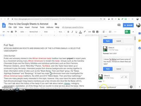 How to annotate an article on Google Sheets