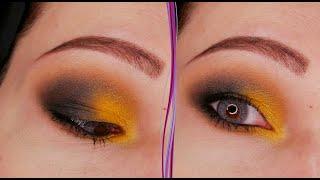 Желтый и черный макияж глаз в стиле смоки айс Пошаговый урок