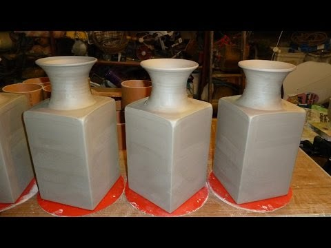 Making A Square Pottery Vase With A Round Top Youtube