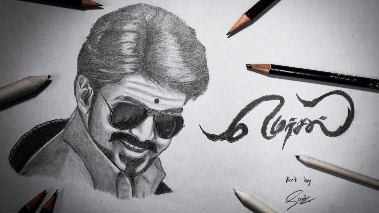 Mersal(மெர்சல்) Vijay Drawing | Pencil Sketch - YouTube