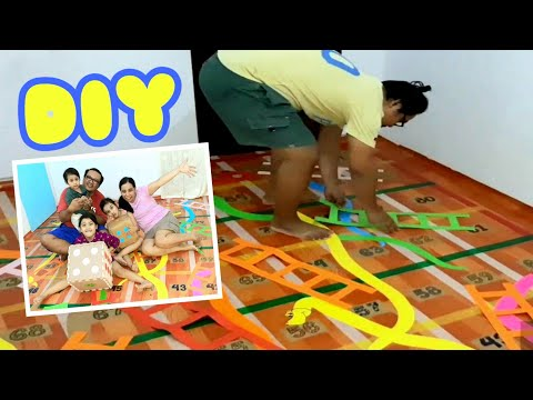 DIY: HOW TO MAKE GIANT SNAKES AND LADDERS FLOOR GAME | PLAYING CLASSIC BOARD GAME