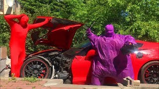 Purple Fat Man repaired BROKEN Corvette in Car Service w/ Red Man on Nissan Cedric for Kids