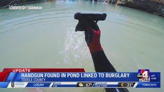 Handgun found in pond by treasure hunters linked to car burglary spree