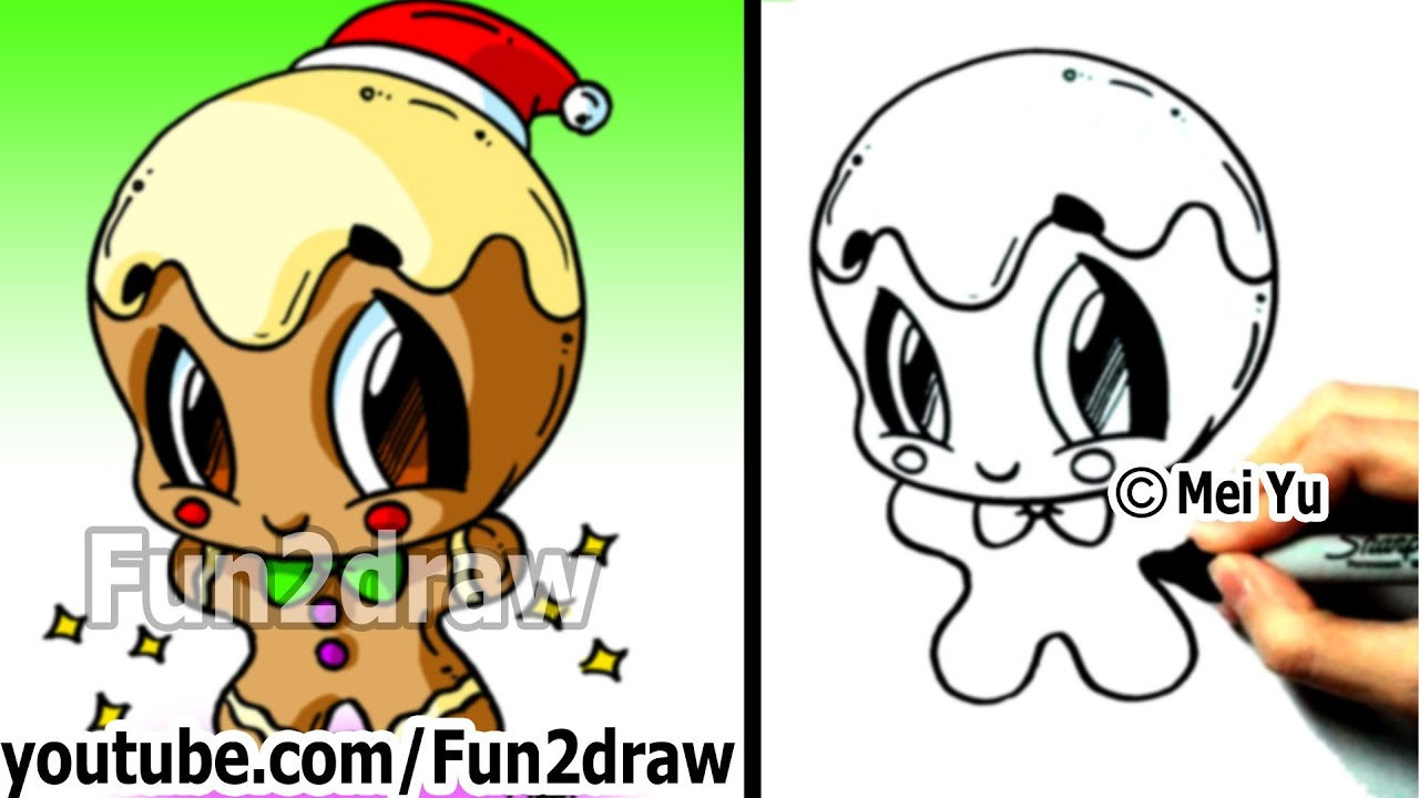 How to Draw Christmas Pictures - How to Draw a Gingerbread ...