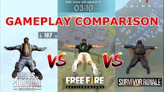 🔥Rules Of Survival VS Free Fire VS Survivor Royale 🔥Comparison - Which is best for mobile?