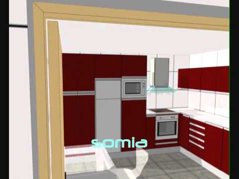 Dise o 3d cocina completa en rojo burdeos y encimera - Materiales para encimeras de cocina ...