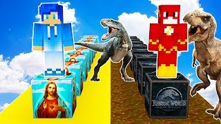 LUCKY BLOCKS JURASSIC WORLD VS LUCKY BLOCKS DIOS 😱👼 MINECRAFT DINOSAURIOS MOD CON DAGAR64