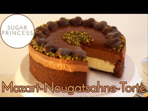 Cremige Mozart-Torte mit Schoko-Nougat-Sahne und Marzipan-Quark-Creme | Rezept von Sugarprincess