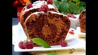Мраморный пряный кекс на сыворотке с малиной