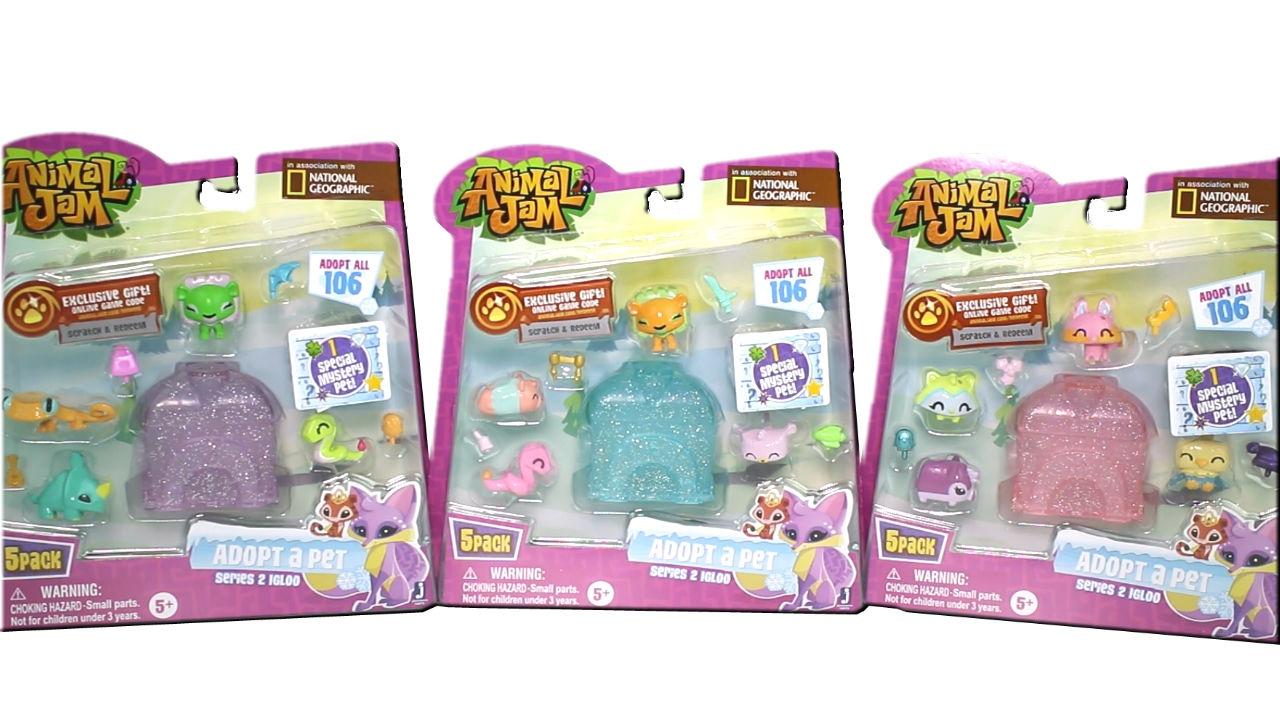 Animal Jam Series 2 Adopt a Pet 5 Packs Unboxing Toy ...
