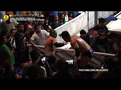 Daga, Joe Líder y Cuervo vs Australian Suicide, Aerostar y Argenis, en UWE Arena López Mateos