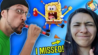 Blowdart a Balloon to Win Spongebob RICE KRISPY Treats! (FV Family EARN YO' SNACKS Vlog)