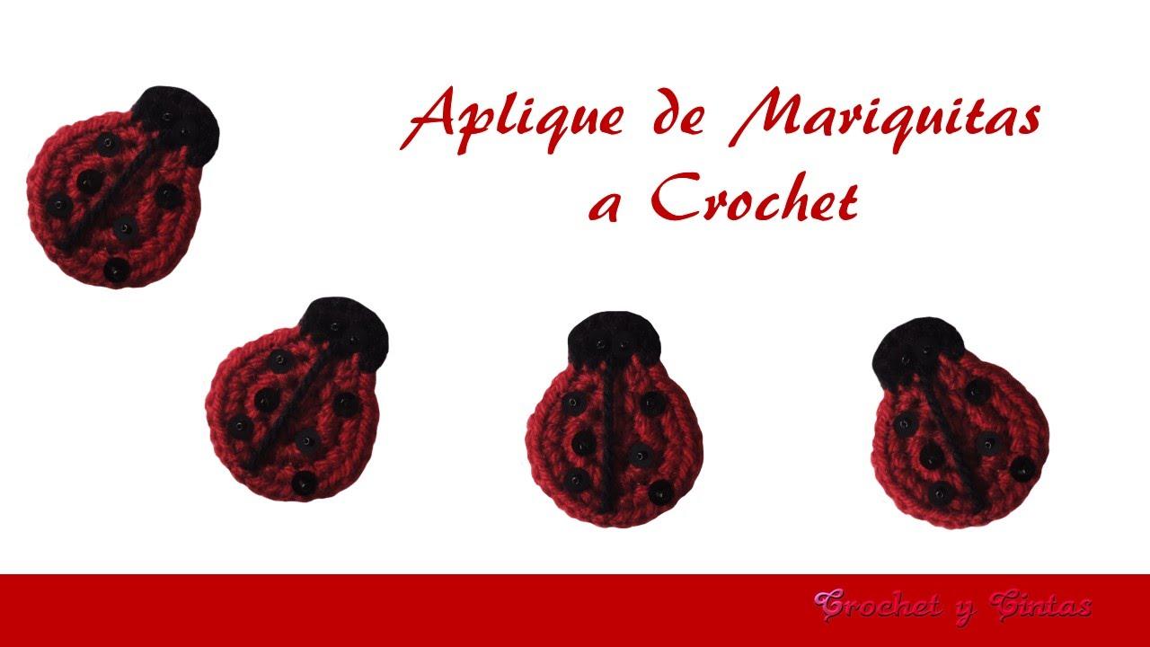 Aplique de mariquitas tejidas a crochet (ganchillo) - YouTube
