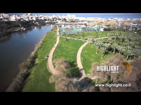 DC004B Israel aerial stock footage: A drone aerial video of Tel Aviv - Hayarkon & sport center