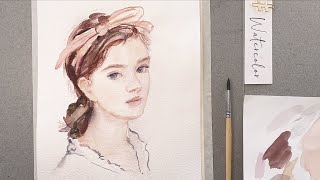 Watercolor portrait painting demonstration from a reference photo