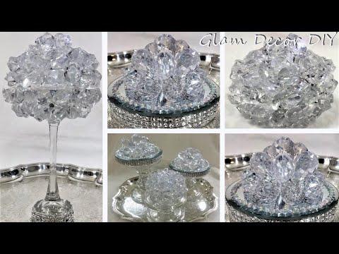 Dollar Tree DIY Glam Lighted Crystal Orb DIY Glam Mirror Room Decor
