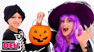 Vlad und Nikita spielen an Halloween Süßes oder Saures