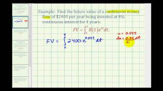 Ex 1:  Future Value of Continuous Money Flow