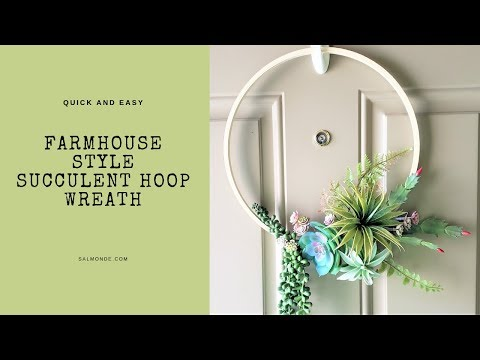 Quick and Easy Farmhouse Style Succulent Front Door Wreath