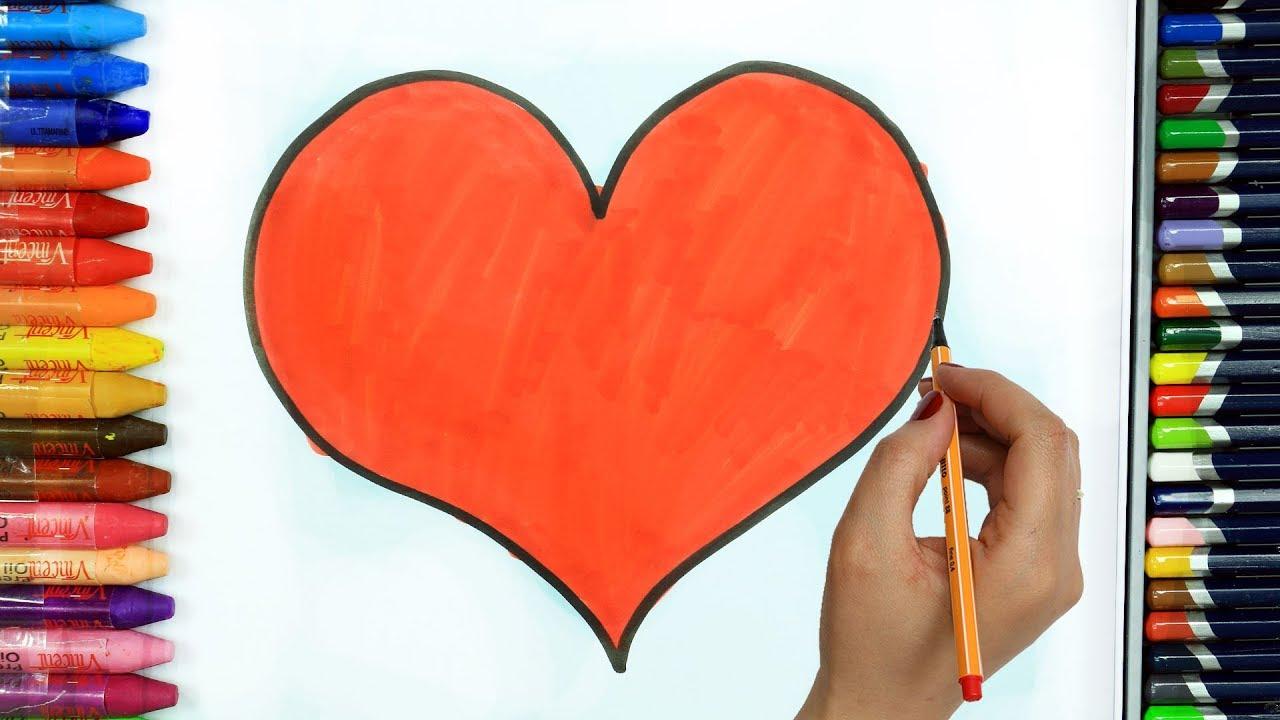 Come disegnare e colorare cuore disegno colorare for Coniglio disegno per bambini
